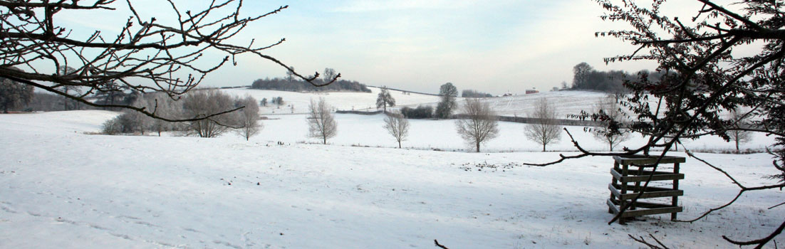 Birdingbury fields in the snow looking towards the Leam